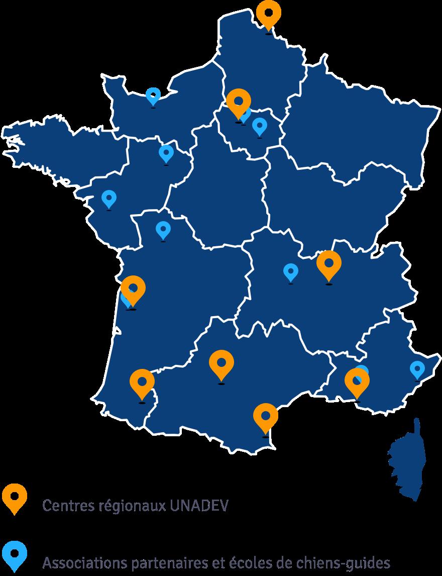 Emplacement des centres régionaux et des partenaires de l'UNADEV