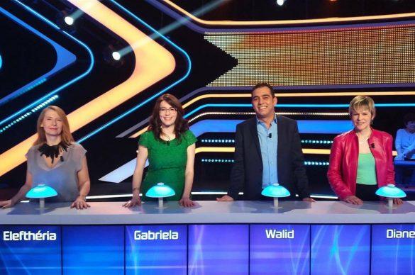 4 candidats de Questions pour un champion posent lors de l'émission du 18 mars 2017