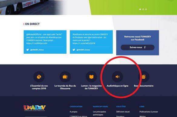 Capture écran site UNADEV audiothèque