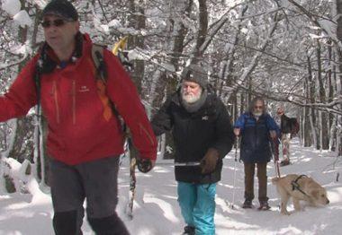 Des non-voyants marchent dans la neige