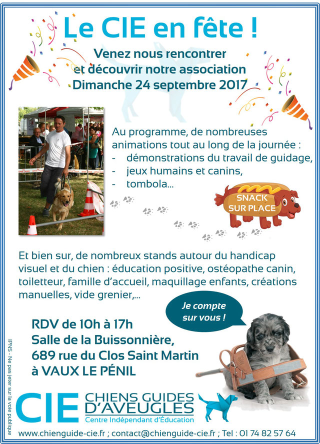Affiche sur la journée organisée par l'école de chiens guides du CIE le 24 septembre