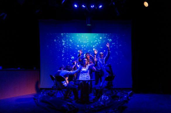 Un groupe de personnes déficientes visuelles de l'UNADEV lors d'une pièce de théâtre en 2017