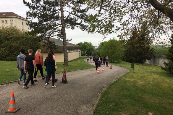 Jeunes qui marchent sur un chemin