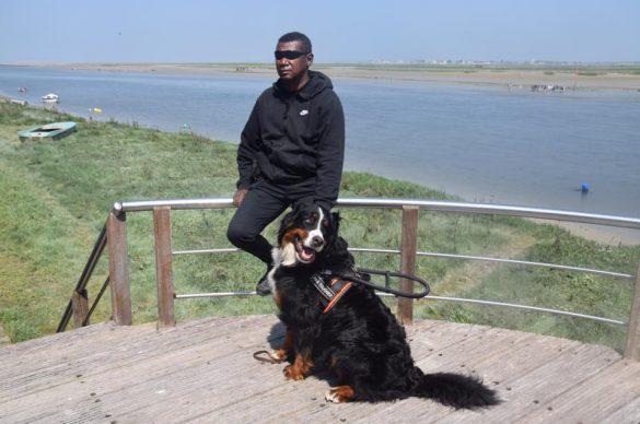 chien et son maitre avec mer au fond