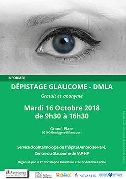 Affiche de la journée de dépistage du glaucome et de la DMLA proposé par l'UNADEV à Boulogne Billancourt