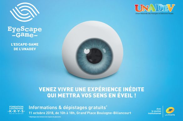 gros oeil en dessin pour illustrer le jeu eyescape game de l'UNADEV