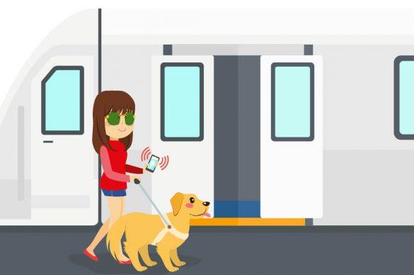 Une personne malvoyante prend les transports en commun avec son chien-guide