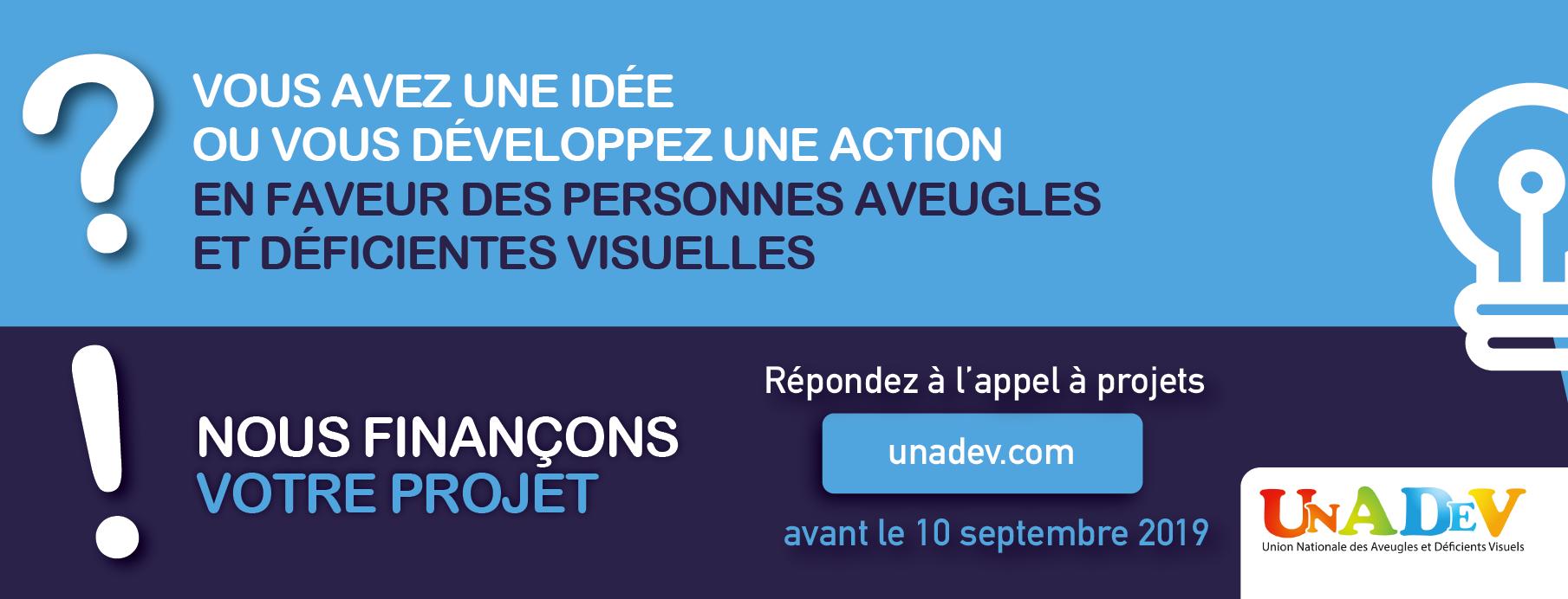 Visuel sur l'appel à projets de l'UNADEV qui incite à donner son idée ou développer une action