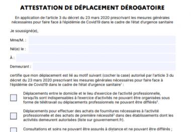 Capture d'écran de l'attestation de dérogation obligatoire depuis le 25 mars
