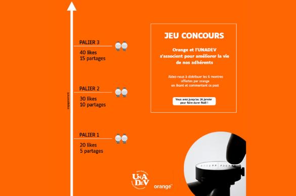 Visuel avec le concours orange faisant gagner des montres